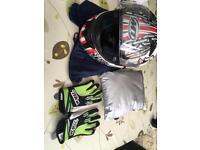 Motor cycle helmet ,gloves & cover