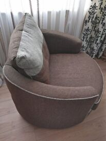 Armchair - Rotates 360 degrees, in brown and light grey colour fabric