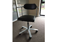 Ikea swivel office desk chair, black faux leather, adjustable height