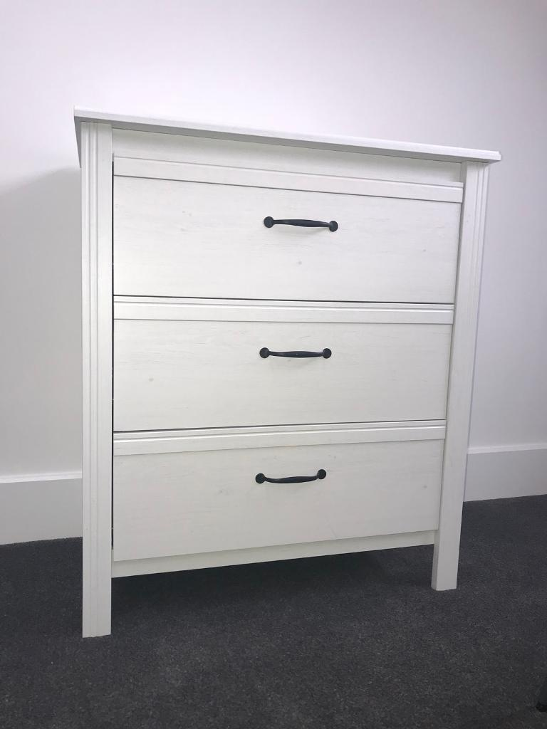 White Chest Of Drawers 3 Ikea Brusali Range