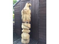 New, Massive Hand Carved Beautiful Chainsaw Carved, Wooden Eagle Large Garden Statues Sculptures