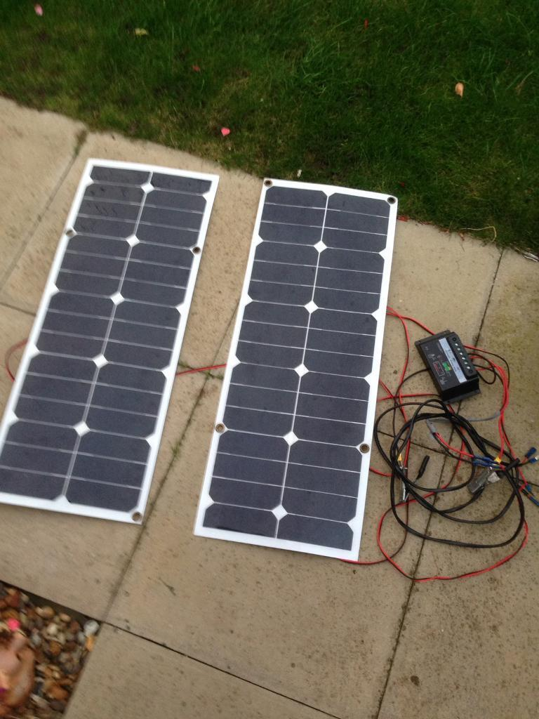 Pair of 30 W solar panels complete kit with regulator