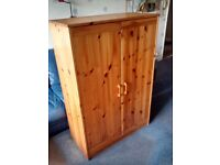 Child's Pine Bedroom Wardrobe Suitable for Locating Under a High Sleeper Type Bed