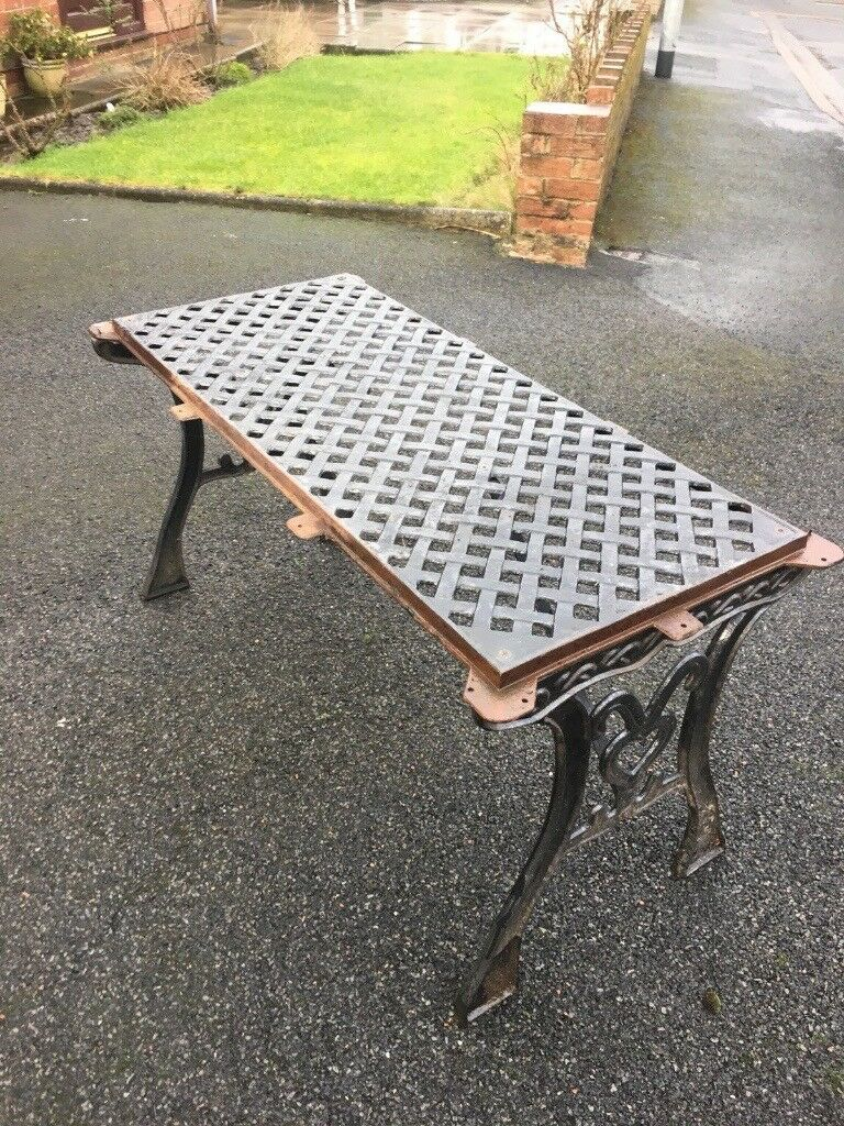 Full Cast Iron Garden Furniture Set Table 2 Benches Parasol Base Delivery