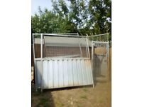 Galvanised steel and mesh panels with gate