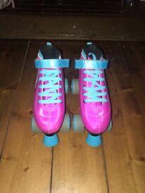Pink retro sfr roller skates, bag, pads & light up wheels