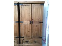ONE MEXICAN PINE WARDROBE 2 DOORS 1 DRAWER AND SHELF GOOD QUALITY VGC £95 MEASURES 37.5 INCHES WIDE