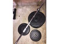 Barbell and weights 60kg in total