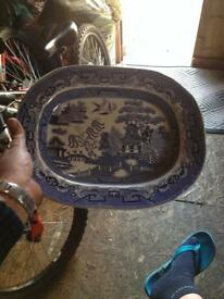 Lovely blue and White dish guys hallmarks with a anchor postage £10