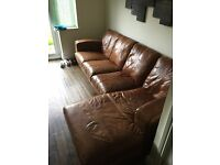 4 SEATER NATURAL TAN LEATHER SOFA WITH CHAISE AND MATCHING CHAIR