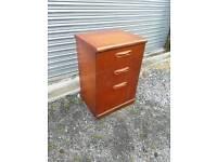 Three drawer bedside cabinet or office desk pedestal