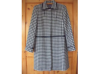 Women's black & white hound's tooth fully lined wool mix 'Outer Layer' coat. Size 12. £18 ovno