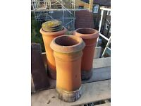 Chimney Pots x3 Terracota red