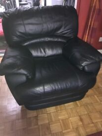 Leather recliner chair in black