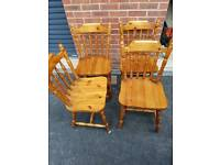 4 Pine Dining Chairs