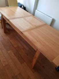 Solid oak dining table and six oak framed chairs #REDUCED
