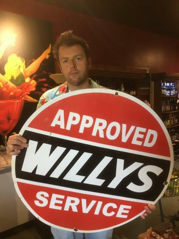 willys gas tire beer motor gasoline oil dealer porcelain sign MAKE AN OFFER!2