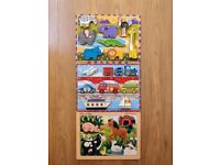 3 x Melissa and Doug Hand Crafted Wooden Jigsaw Puzzles