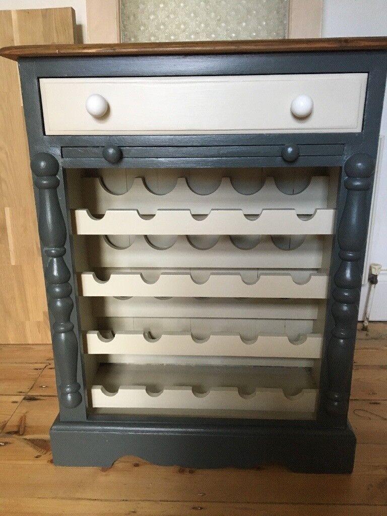 Pine Painted Wine Rack Vintage County Kitchen Stlye Unit