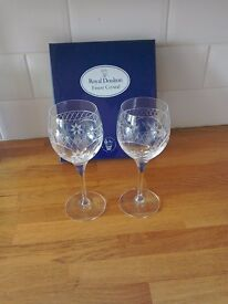 Royal Doulton crystal wine glasses. Set of two.