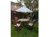 Wooden patio set compete with parasol