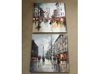 2 canvas Paris scene pictures