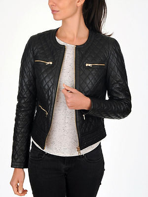 Women's Slim Fit Black Quilted Moto Biker Style Leather Jacket - Best (Best Quilted Jacket Womens)