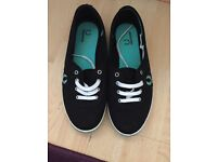 *WORN ONCE* Black Fred Perry Aubrey Twill Trainers Womens Ladies Size 6 RRP £45