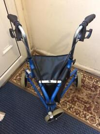 Light weight tri walker with folding bag 3 wheel rollator mobility aid basket