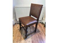 Set of six Jacobean style English oak chairs.