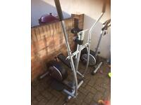 Cross trainer exercise bike and rower rowing machine