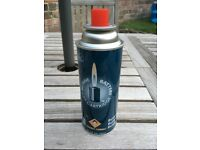FOUR NEW UNUSED 220g Butane (LPG) gas canisters