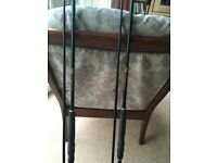 Pair of Shakespeare 3lb tc 12 foot carp rods perfect condition with bags