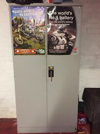 Solid metal, locking storage cabinet.