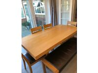 Dining table, 4 Chairs and matching bench
