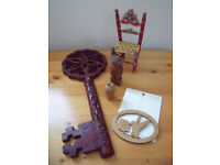 4 Wood decorative items.Chair, cat, lightpull, ornament. KEY GONE, PRICE REDUCED. Will split. £2 lot