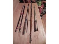 4 x trout fishing rods-all in a fair condition -Eyes all secure plus six books on trout fishing