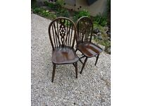 Antique Jaycee Oak Wheel back chairs. Good condition, REDUCED (will sell in pairs)