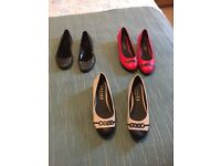 3 pairs of perfect condition/brand new size 6 ladies shoes