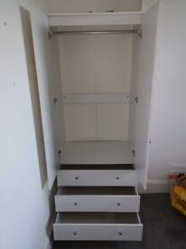 White double wardrobe with 3 drawers