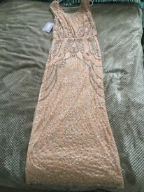 New Peach/Petal Long Sequined Sleevless Dress Size 14