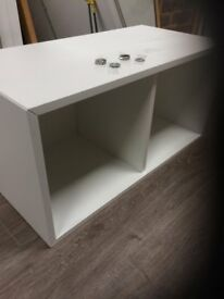 Ikea double wall shelf unit. White 35 x 35 x70 cms good condition. with all fittings