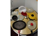 Kitchen set saucepan milkpan pot glass container colander cups chopping board