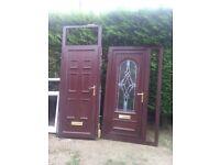 2 brown upvc doors spares repares too good to scrap slight wear too good to scrap