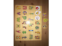Child / Baby / Toddler Wooden Alphabet ABC Puzzle, Very Good Used Condition
