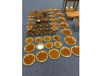 Rare 62 piece vintage retro HORNSEA HEIRLOOM DINNER TEA COFFEE SET BROWN 70s ceramic pottery SDHC