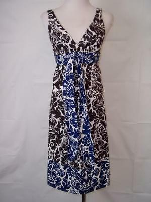 Trina Turk Sz 2 Brown & Blue Floral Print Cotton Sundress EUC! Floral Print Cotton Sundress