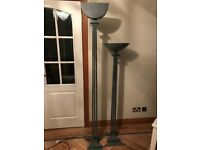 Tall uplighter floor lamp and matching ornamental display bowl. Iron and very robust.