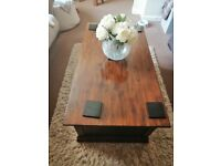 Dark oak coffee table with storage baskets for sale  Portsmouth, Hampshire