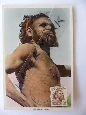 Vintage Postcard Aboriginal One Pound Jimmy Stamp Postmark Amion Springs 1955